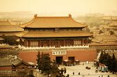Aerial view of Imperial Palace in Beijing in red tone, China.
