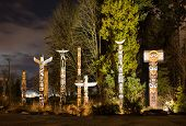 Totems In Stanley Park Vancouver At Night