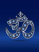 Om Symbol In Silver With Sapphire Stones