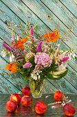 Still Life Bouquet: Hosta, Astilbe, Hemerocallis, Pink Hydrangea And Nectarines
