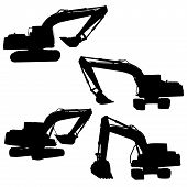 image of backhoe  - action backhoe vector isolate on white background - JPG