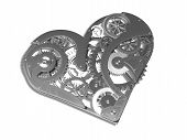 stock photo of pacemaker  - Heart symbol made out of cogs and gears - JPG