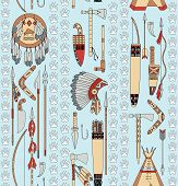 Seamless Pattern With Native American Attributes And Animal Tracks