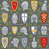 stock photo of crossed swords  - Seamless vector pattern with knightly helmets and shields can be used for graphic design - JPG