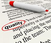 A dictionary definition with the word Quality circled by a red marker or pen, illustrating top chara
