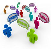 The word Referral in speech bubbles above people's heads to illustrate a network of customers or new