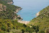 Looking down onto Gialia beach on the Greek island of Alonissos.