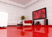 picture of home theater  - red and white living room with home theater the art picture on tv screen is a my image  - JPG