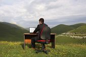 Rear view of businessman using laptop at desk in mountain field