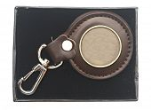 key chain with blank metal plate in box