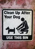 image of dog poop  - clean up after your dog weathered sign - JPG