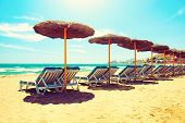Vacation Concept. Spain. Beach on Costa del Sol. Mediterranean Sea