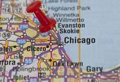 Red Push Pin Pointing On Chicago