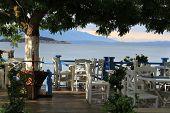 Greek tavern on the coast of Aegean Sea