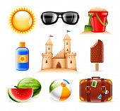 stock photo of melon  - Set of nine summer and beach related vector icons - JPG