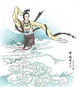 Vector Mid Autumn Festival Illustration of Chang'e, the Chinese Goddess of Moon. Translation: Chang'
