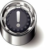 Rubber button round exclamation attention