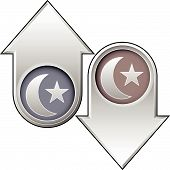 Islamic Crescent Icon On Up And Down Arrow Buttons