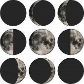 stock photo of wane  - Phases of the moon vector illustration based on public domain image - JPG