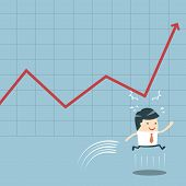 Businessman Jump And Graph