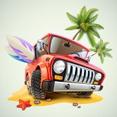 summer jeep car on beach with palm