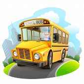 foto of motor-bus  - Funny school bus vector illustration on white background - JPG