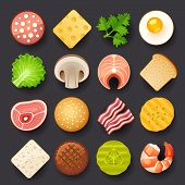 foto of cheese-steak  - food vector icon set on gray background - JPG