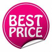 Best Price Round Pink Sticker On White Background