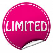 Limited Round Pink Sticker On White Background