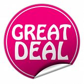 Great Deal Round Pink Sticker On White Background