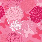 foto of chrysanthemum  - Seamless pattern with butterflies silhouettes and hand drawn flowers  - JPG