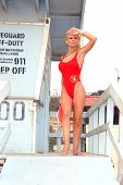Katie Lohmann on Halloween, wearing an authentic Baywatch swimsuit from the TV series, Zuma Beach, C