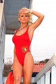 Katie Lohmann on Halloween, wearing an authentic Baywatch swimsuit from the TV series, Zuma Beach, C