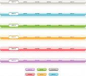 Set of vector navigation templates. Different colors. Easy to edit any size aqua web 2.0