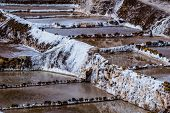 stock photo of salt mines  - Peru Salinas de Maras Pre Inca traditional salt mine (salinas).