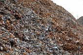 picture of ferrous metal  - Pile of metal pieces from separation of crushed and shredded cars - JPG