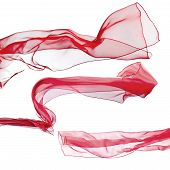 Red Scarf  On  White Background