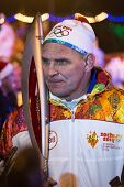 Novosibirsk, Russia - December 7: Interview gives Karelin Alexander with the Olympic torch at the Ol
