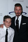 David Beckham and son Brooklyn at the 27th Anniversary Of Sports Spectacular, Century Plaza, Century