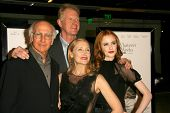 Larry David and Ed Begley Jr with Patricia Clarkson and Evan Rachel Wood at the Los Angeles Premiere