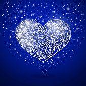 blue background, white heart