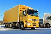 Yellow Renault Premium 410 Delivery Truck