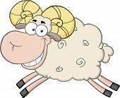 Smiling Ram Sheep Cartoon Mascot Character Jumping