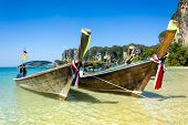 Long Tail Boats In Railay Beach, Thailand.