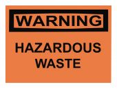 stock photo of osha  - OSHA hazardous waste warning sign isolated on white - JPG