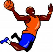 Basketball Player Dunking Ball Cartoon