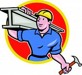 picture of girder  - Illustration of construction steel worker carpenter carrying i - JPG