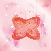 Decorative Transparent Glass Butterfly Hanged Over Pink Background