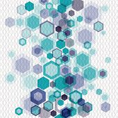 Blue Business Abstract Geometrical Background With Vertically Arranged Hexagons And Nets. Eps10