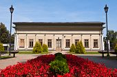stock photo of manor  - Rebuilt Tuskulenai Manor with the park in Vilnius, Lithuania.